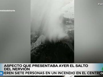 El viento congela el agua del salto del Nervión: una de las imágenes más sorprendentes que deja el temporal