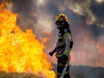 Bomberos trabajan en un sector afectado por un incendio en la región de la Araucaria, Chile