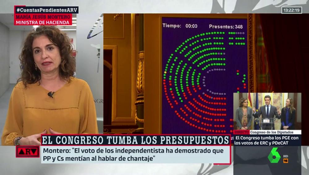 """La ministra Montero, tras la derrota en los Presupuestos: """"La derecha impide el progreso y la recuperación de derechos"""""""