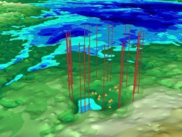 El cráter descubriendo en Groenlandia
