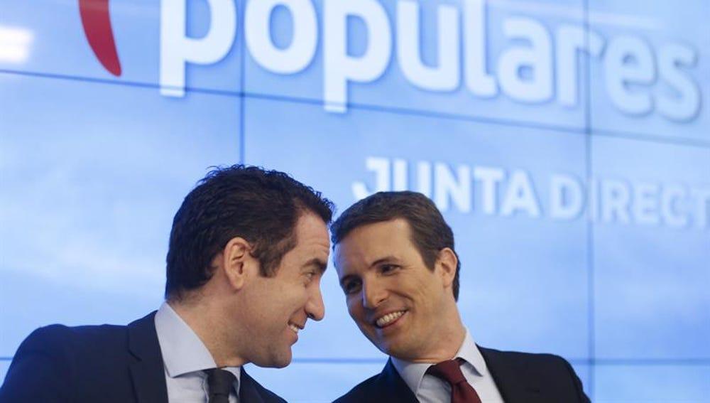 El presidente y el secretario general del PP, Pablo Casado y Teodoro García Egea