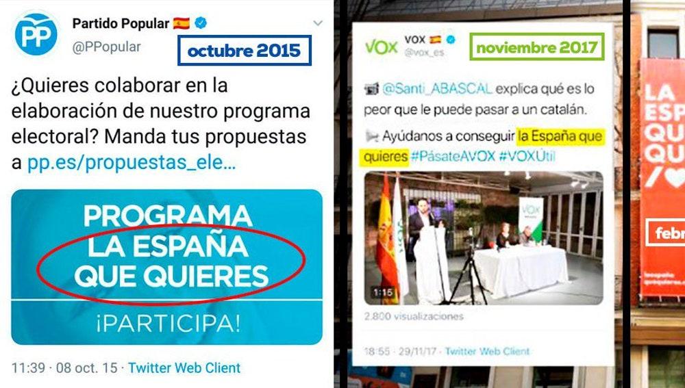 PP y Vox reclaman la autoría del eslogan 'La España que quieres'