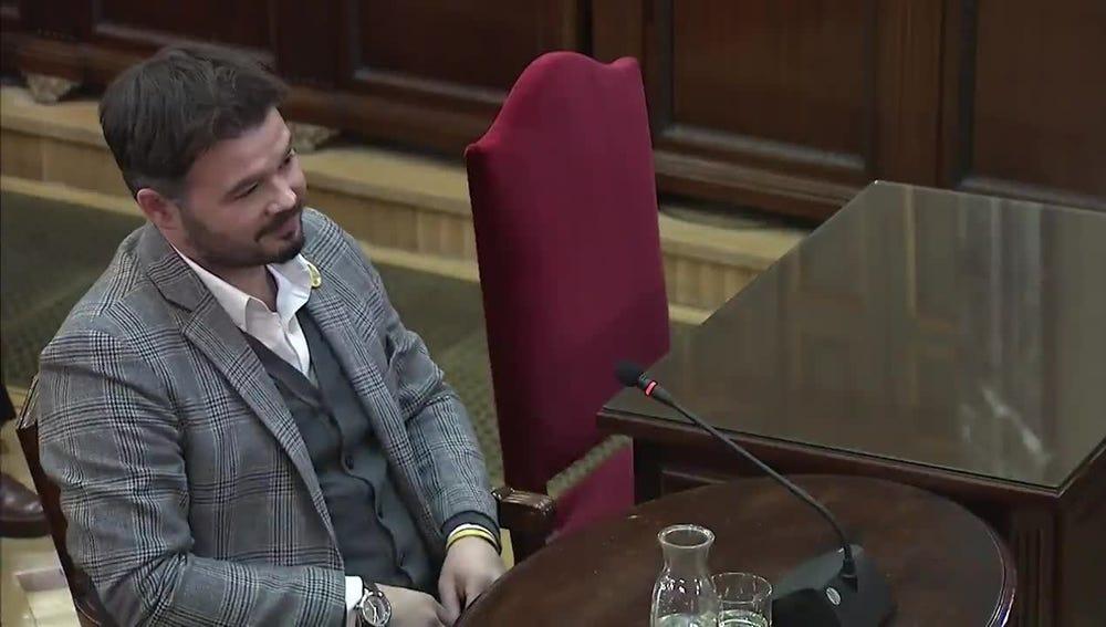 Gabriel Rufián en el juicio del 'procés'