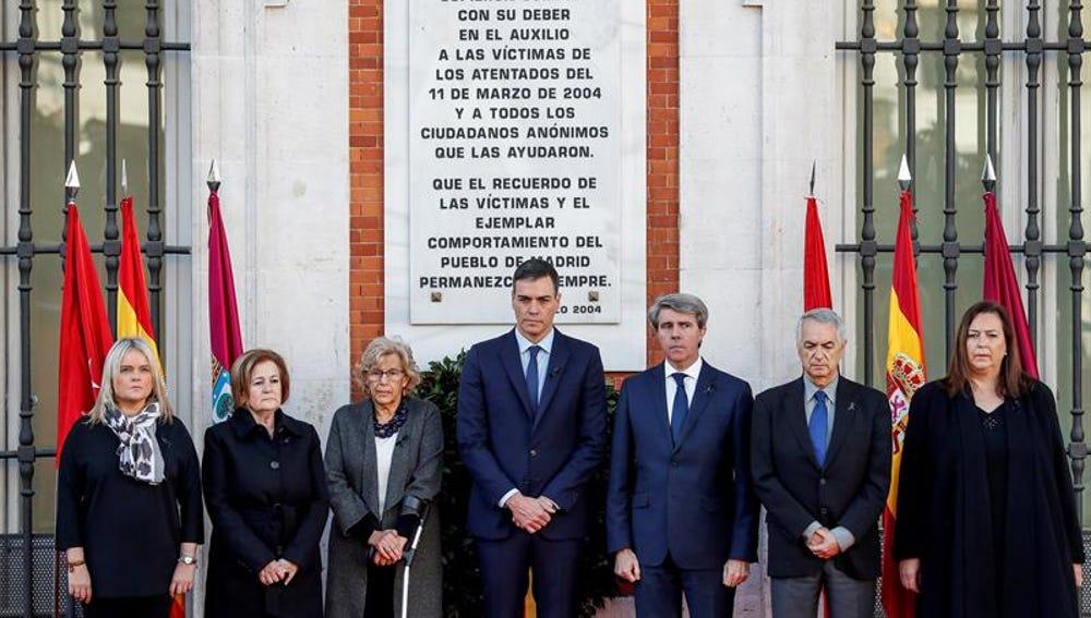 Manuela Carmena, Pedro Sánchez y Ángel Garrido