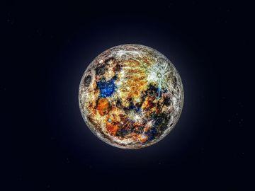 La imagen que muestra los impresionantes colores de la Luna