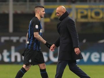 Icardi y Spalletti se cruzan sin mediar palabra