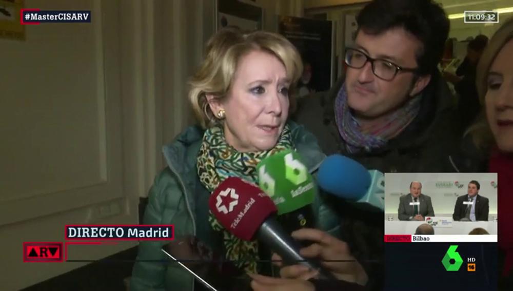 """Esperanza Aguirre: """"Bildu son unos asesinos. Otegi tiene las manos manchadas de sangre"""""""