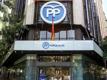 Imagen de la fachada de la sede del PP en Madrid