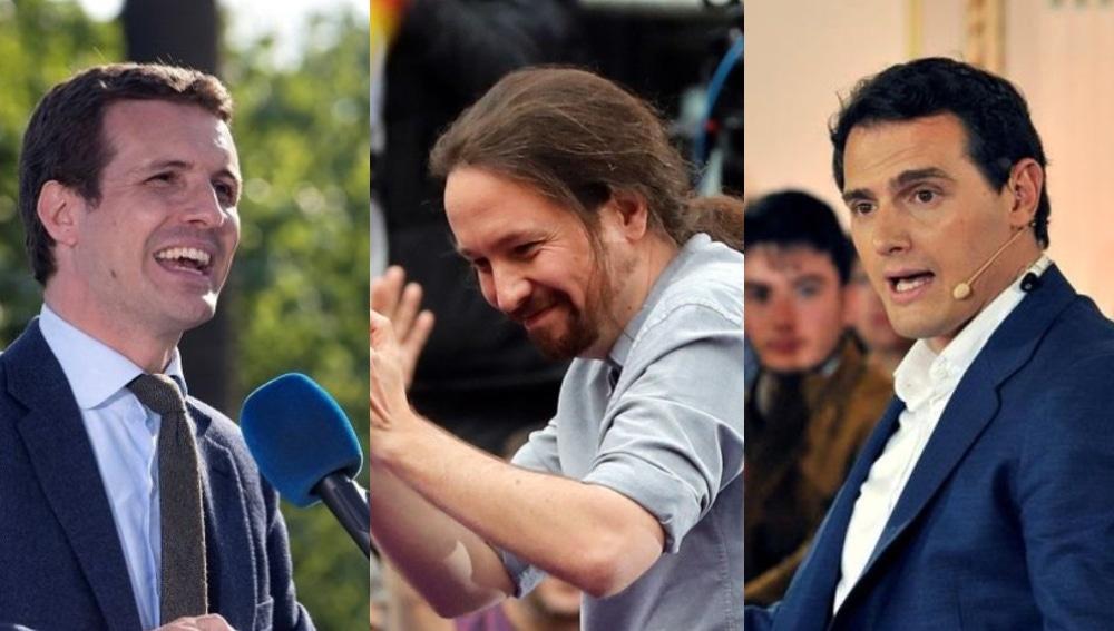 Pablo Casado, Pablo Iglesias y Albert Rivera