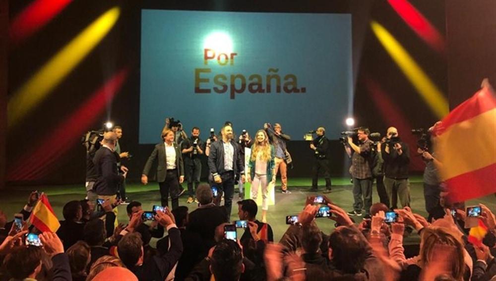 Santiago Abascal en un acto de campaña de Vox