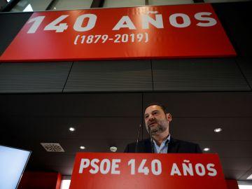 José Luis Ábalos, durante el acto de celebración de los 140 años del PSOE.