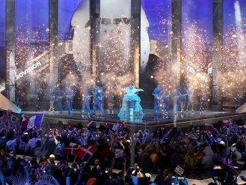 Imagen de la actuación de la ganadora de Eurovisión 2018, con la que se ha abierto la gala final de este año