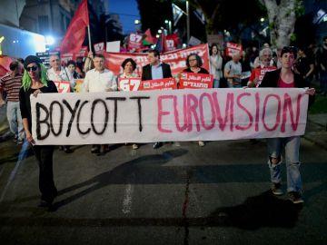 Protesta contra el festival de Eurovisión