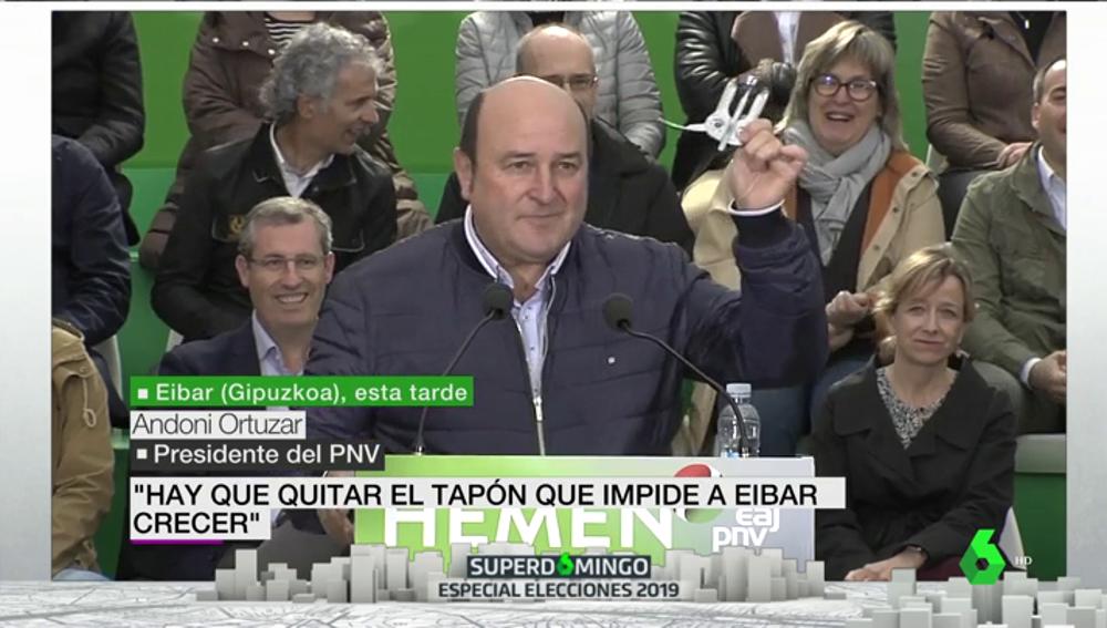 """Andoni Ortuzar tira de sacacorchos para """"quitar el tapón"""" del PSOE que gobierna en Eibar"""