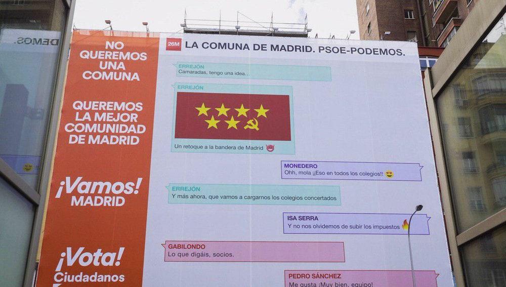 Ciudadanos despliega una nueva lona gigante en Madrid