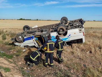 El autobús accidentado en Daimiel