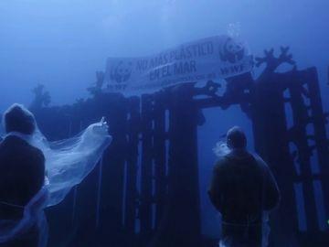 La ONG 'WWF' protesta así contra la presencia excesiva de plásticos en los océanos