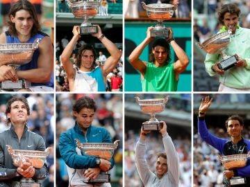Los 12 Roland Garros que ha conquistado Rafa Nadal