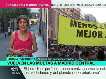 """Lorena Ruiz-Huerta, abogada de Greenpeace: """"La ciudadanía solo está dispuesta a hacer todavía más grande Madrid Central"""""""