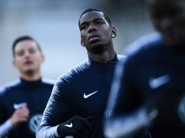 Pogba, durante un entrenamiento con Francia