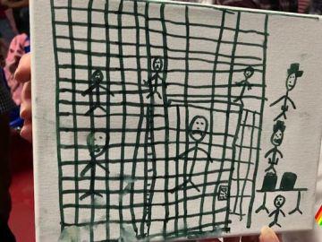 Dibujo de un niño migrante en la frontera con EEUU