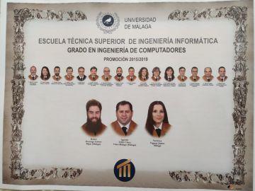Tres alumnos y 15 profesores componen la orla del Grado en Ingeniería de Computadores