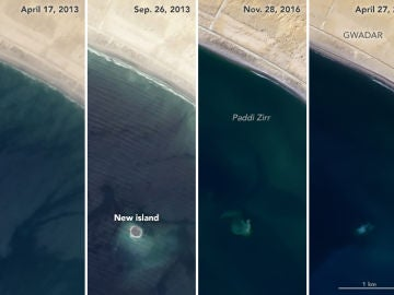 Las imágenes satelitales de la NASA muestran la evolución de la isla durante sus seis años de vida.