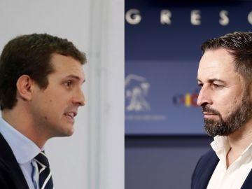 El líder del PP, Pablo Casado, y el de Vox, Santiago Abascal