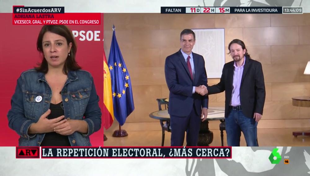 """Adriana Lastra explica por qué no quieren a Unidas Podemos en el gabinete de Gobierno: """"Tenemos diferencias profundas"""""""