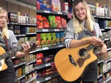 La empleada de un supermercado toca una canción en su turno