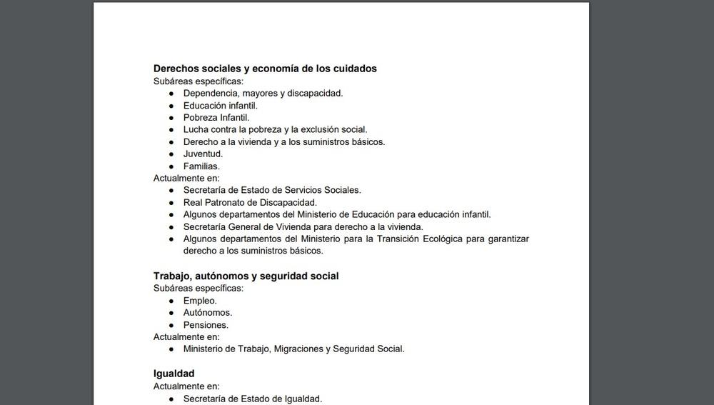 Imagen del documento con las exigencias de Unidas Podemos al PSOE