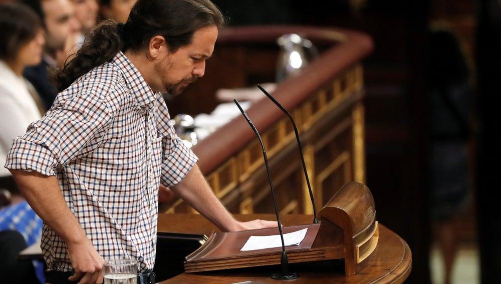 Pablo Iglesias en el debate de investidura de Pedro Sánchez