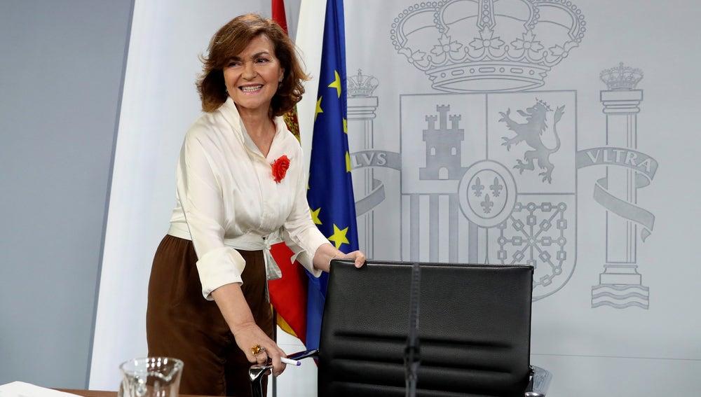 Carmen Calvo en rueda de prensa