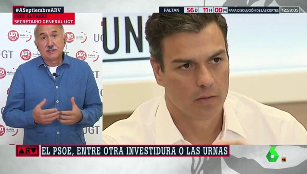 """Pepe Álvarez (UGT): """"Si no hay Gobierno será imposible subir las pensiones, disminuir el paro o controlar la situación de los trabajadores"""""""