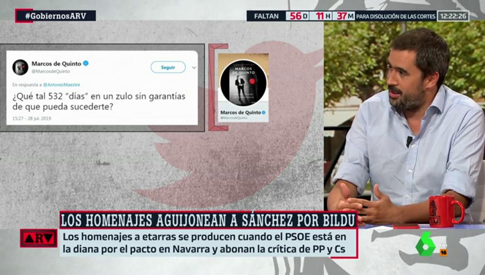 """Carlos Cué, sobre la sugerencia de condena de Marcos de Quinto para un etarra: """"Un diputado nacional está haciendo declaraciones anti constitucionales"""""""