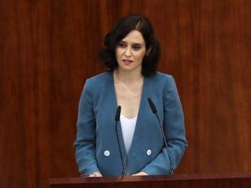 Isabel Díaz Ayuso, en su discurso de investidura