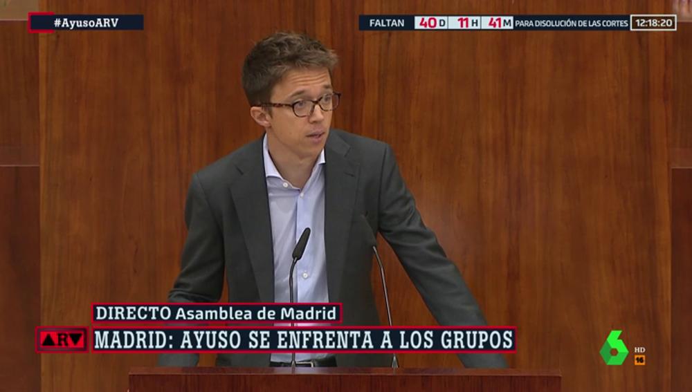 """Errejón responde a Ayuso: """"Si algún día es atacada por ser mujer, no dude en que contará con el apoyo de Más Madrid"""""""