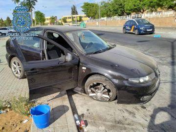 El coche siniestrado del alunicero Cheíto