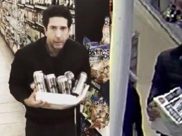 Imágenes de David Schwimmer y el ladrón de cerveza parecido a él