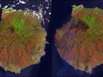 Las imágenes satelitales que muestran la evolución del incendio de Gran Canaria.