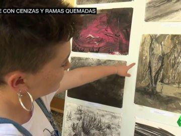 Unos jóvenes convierten en arte la sierra de Guadarrama calcinada por el incendio