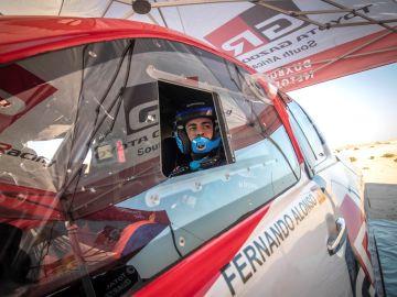 Fernando Alonso, en los test en Namibia