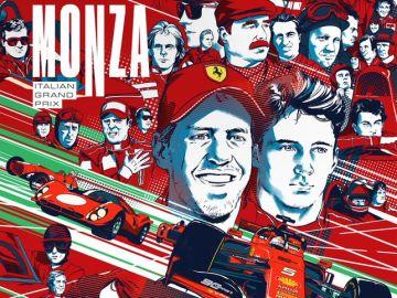 El cartel de Ferrari celebrando el 90 aniversario de Monza