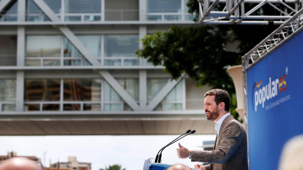 Pablo Casado durante un acto del Partido Popular en Benidorm, Alicante.