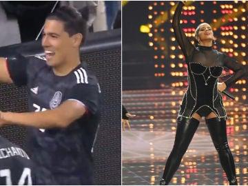 Erick Gutiérrez celebrando un gol 'a lo Rosalía'