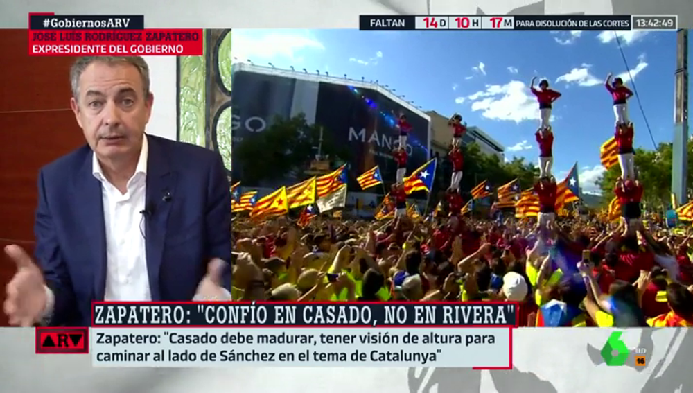 """Zapatero: """"Casado debe madruar, tener una visión de altura para caminar al lado de Sánchez en la cuestión de Cataluña"""""""