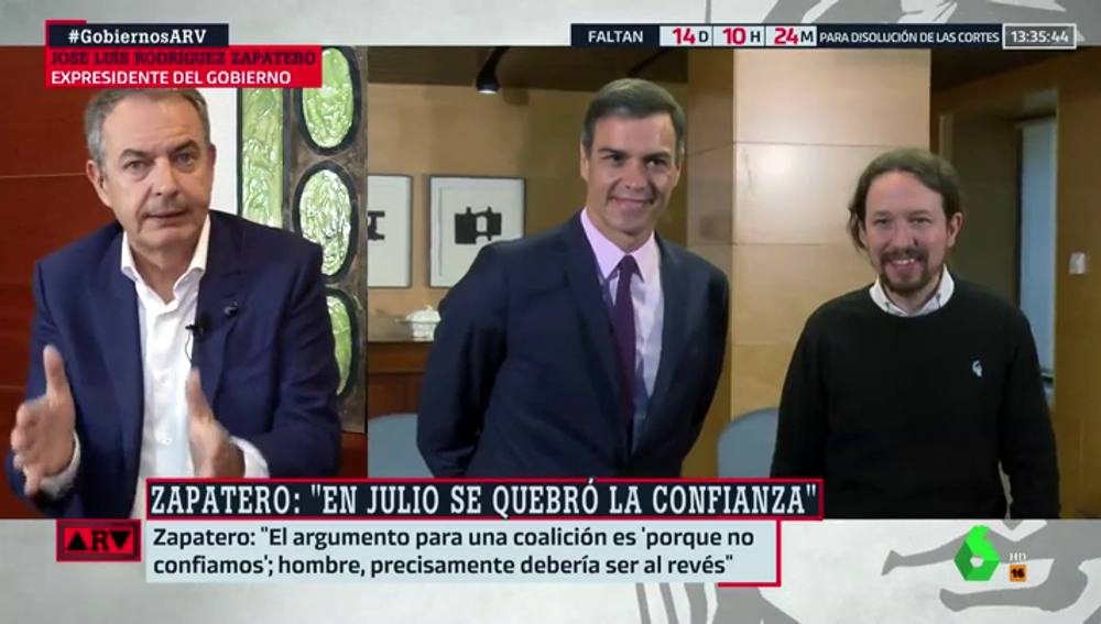 """Zapatero, contra el argumento de Unidas Podemos: """"Entrar en un Gobierno de coalición para controlar no, eso lo hace la oposición""""."""