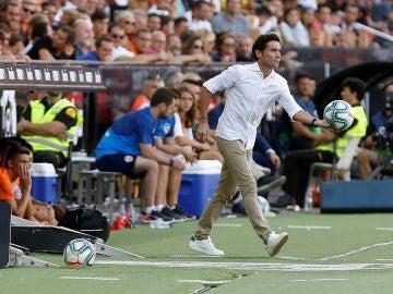 Marcelino, durante un partido del Valencia