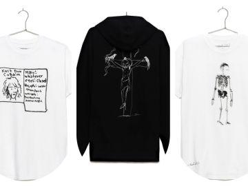 Algunas de las prendas de la edición limitada 'Kurt Was Here', con anotaciones y dibujos de Kurt Cobain.