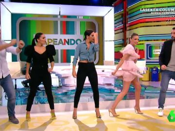 Cristina Pedroche baila con los zapeadores la coreografía inicial de El Hormiguero